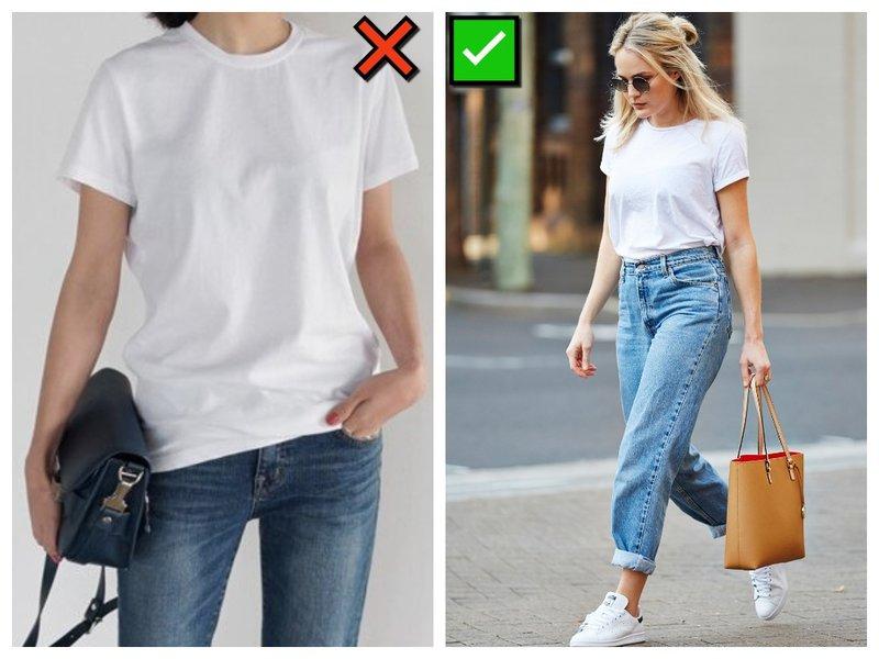 Как правилньо носить футболку и джинсы