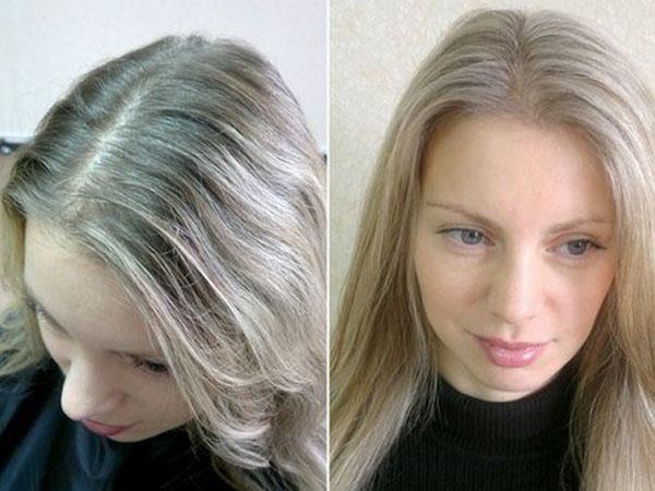 Окрашивание корней до и после фото