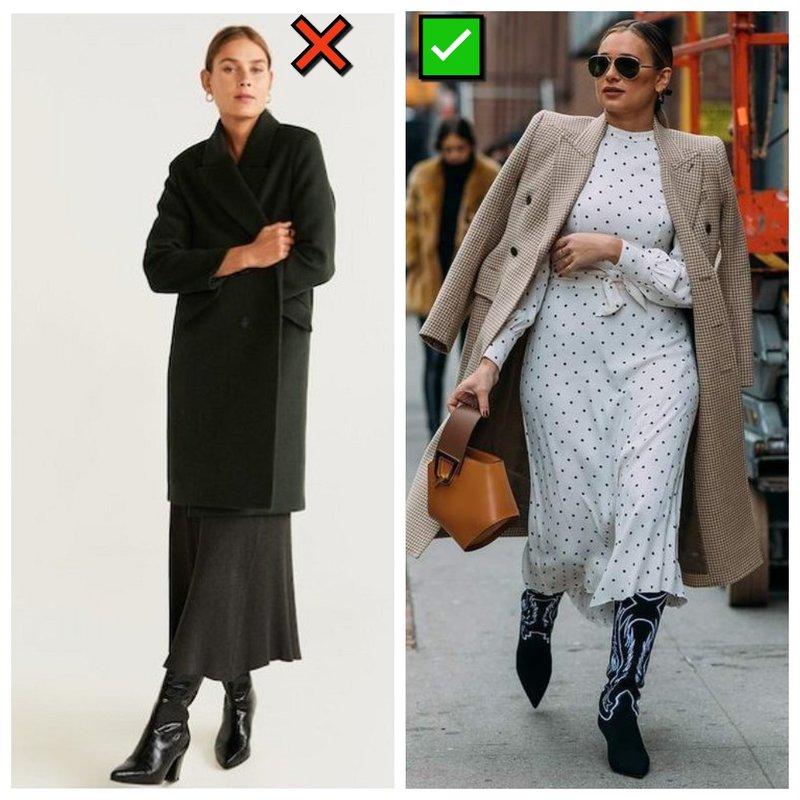 Пальто и платье: подбираем по длине