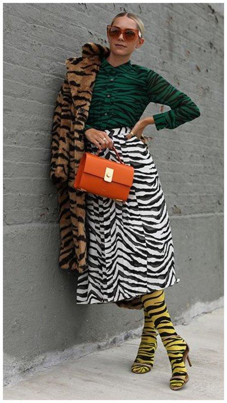 Разноцветный наряд в тигровый принт