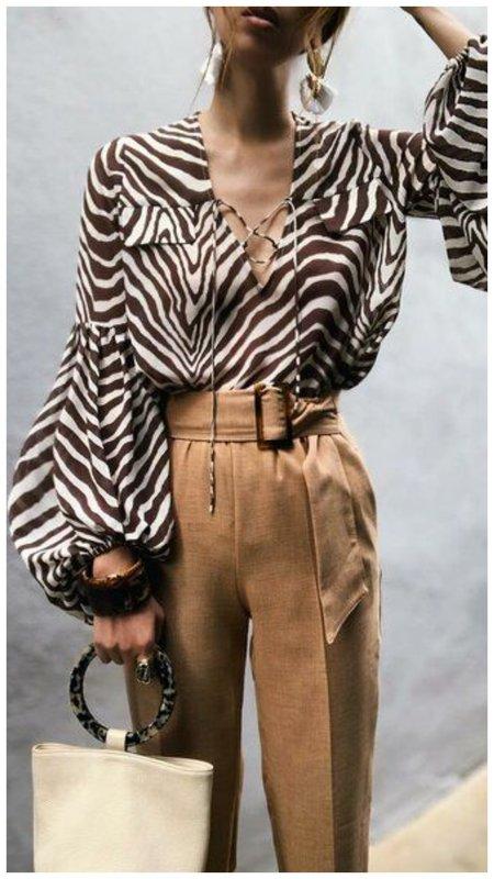 с чем носить блузку зебра пример