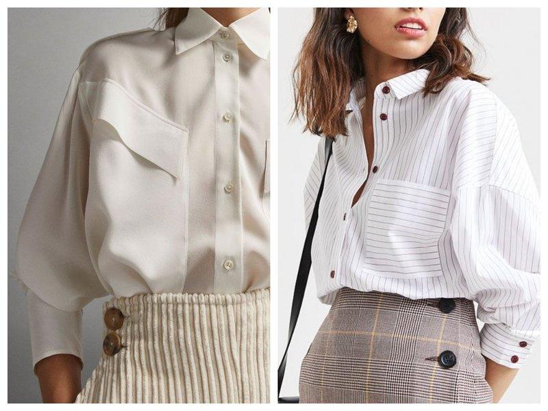 Женская рубашка с накладными карманами