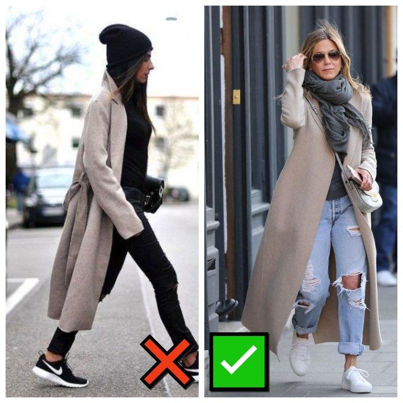Пальто с кроссовками: как правильно сочетать