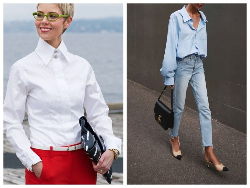 С чем носить женщине классическую рубашку