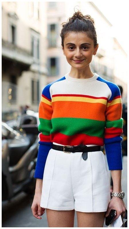 С чем носить яркий свитер
