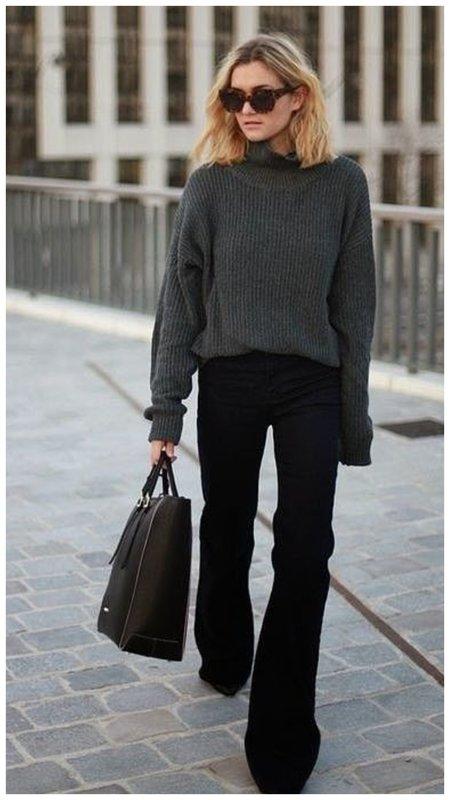 Черные брюки клеш
