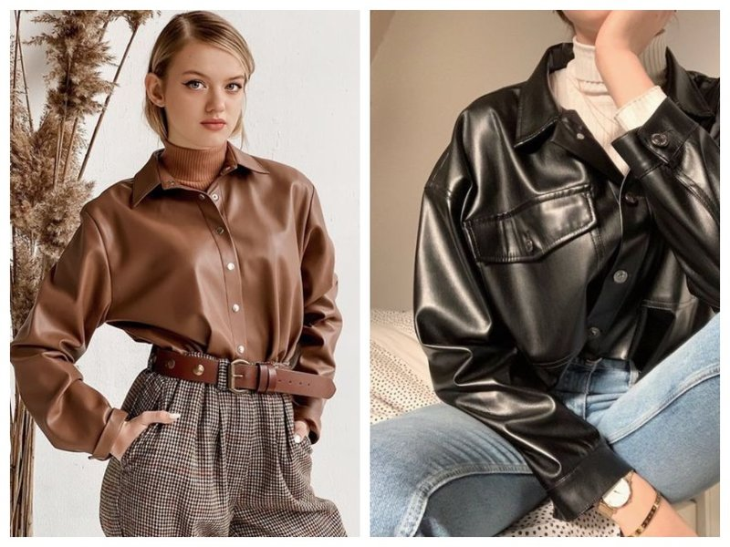 Кожаные женские рубашки