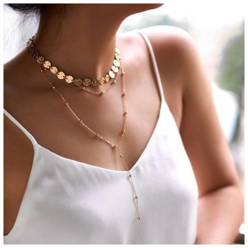 Многослойное украшение на шею для женщин фото