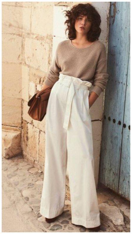 Белые брюки палаццо на весну