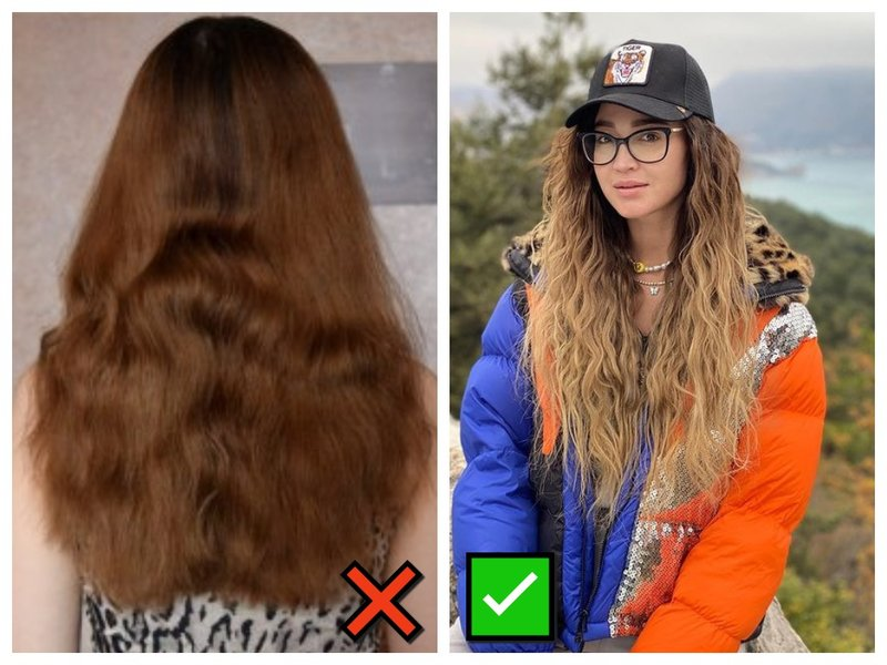 Как выглядят распущенные волосы после косичек
