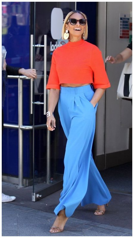 Голубые брюки палаццо