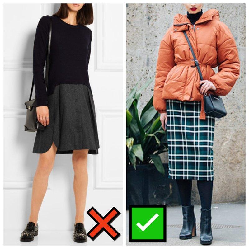 Как носить куртку с юбкой