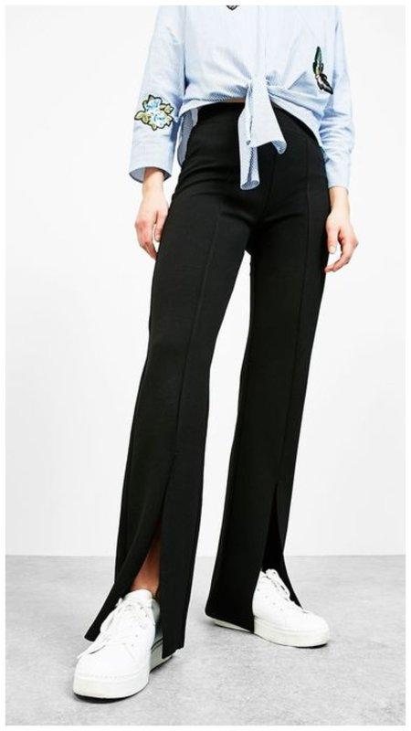 Широкие черные брюки с разрезами