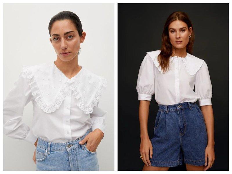 Трендовые блузки с вытянутыми воротничками