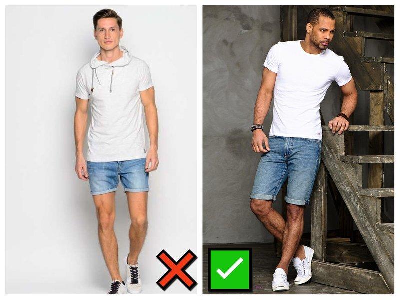 Как мужчине носить короткие шорты из денима
