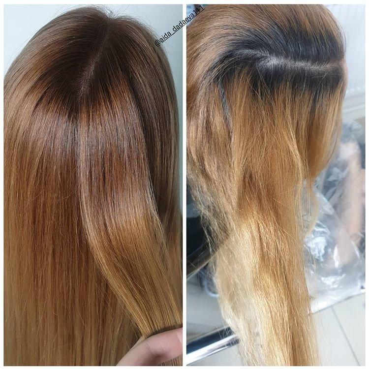 Двойная растяжка цвета: до и после фото