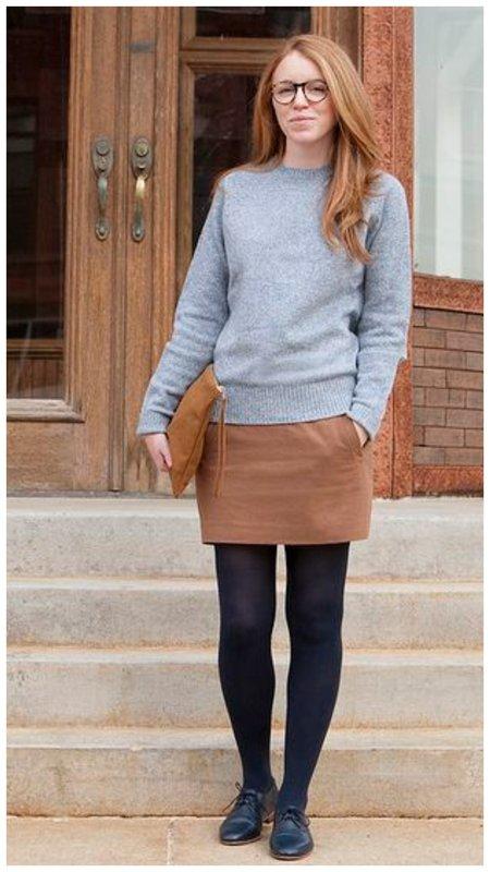 С чем носить коричневую юбку фото