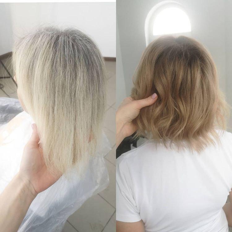 Затемнение блонда: фото до и после