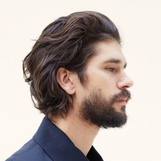 Каре на длинные волосы для мужчин без челки