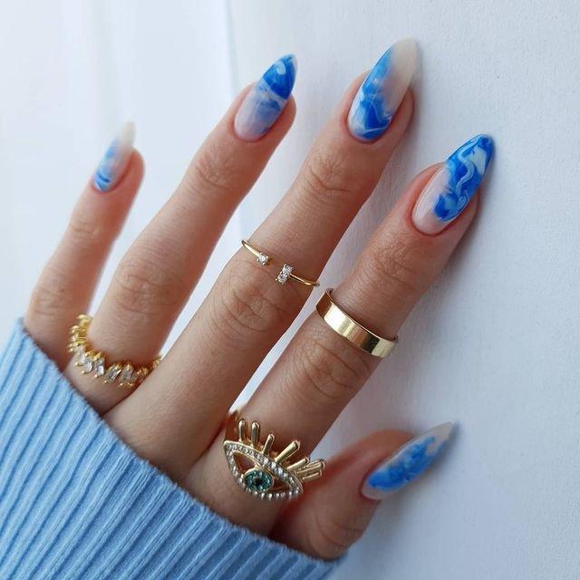 Ногти с волнами фото