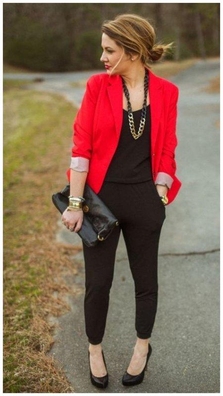 Как сочетать красный и черный в одежде фото