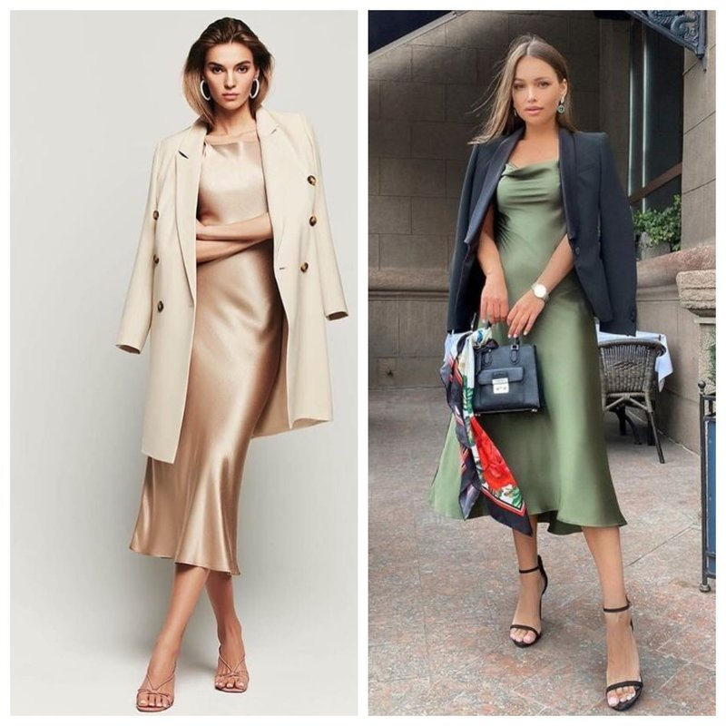 Платье в бельевом стиле и жакет