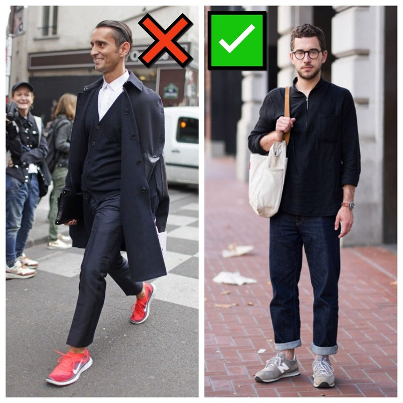 Как мужчине носить кроссовки