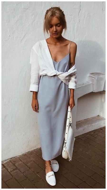 Платье с белой рубашкой фото
