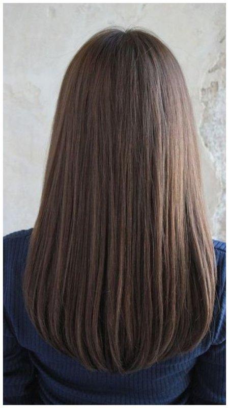 Овальный срез прямые волосы