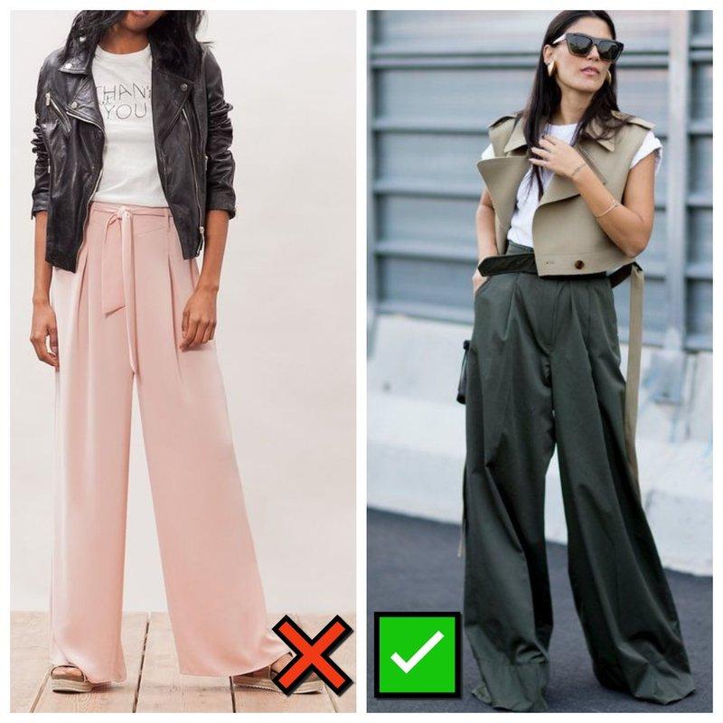 Как модно и немодно носить брюки палаццо