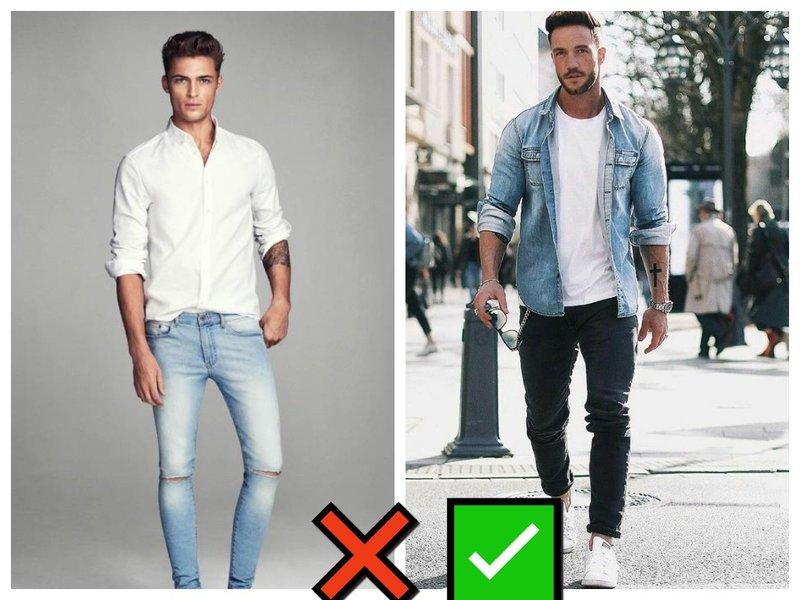 Как носить джинсы с рубашкой