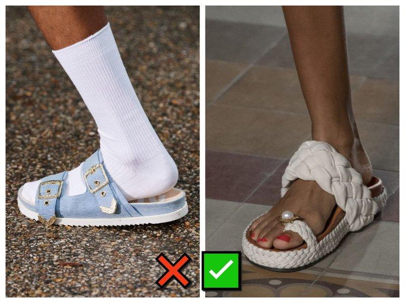 Носки и шлепки - тренд