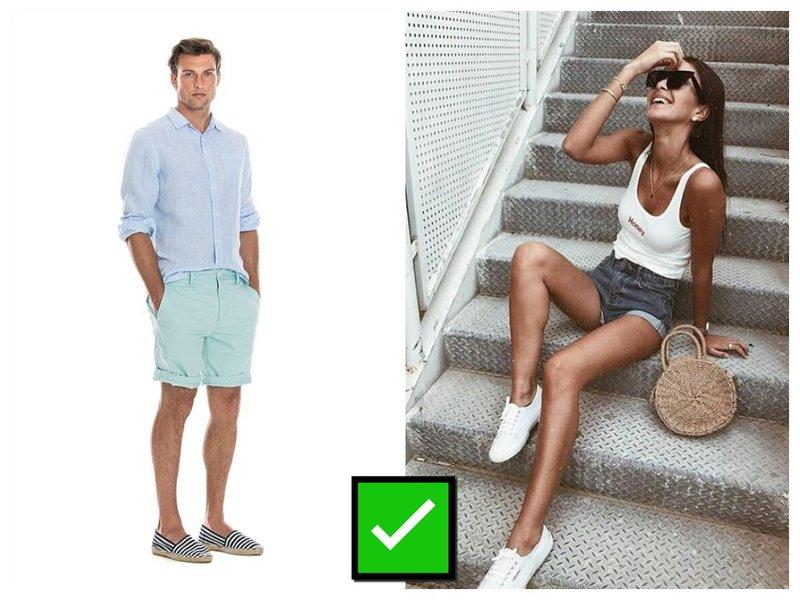 Как одеться, если девушка в шортах?