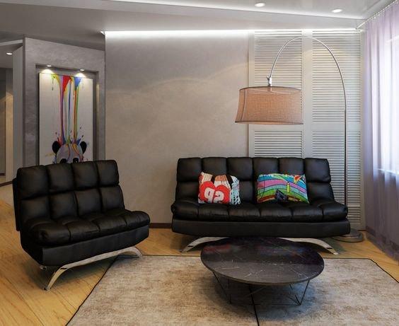 Стеганый диван в интерьере