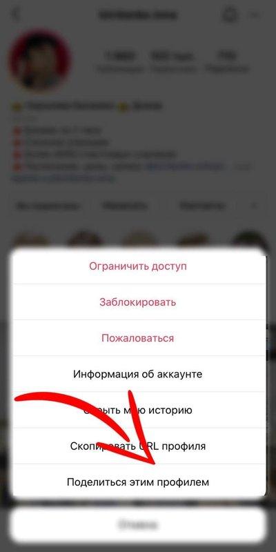 Как поделиться профилем в Инстаграм