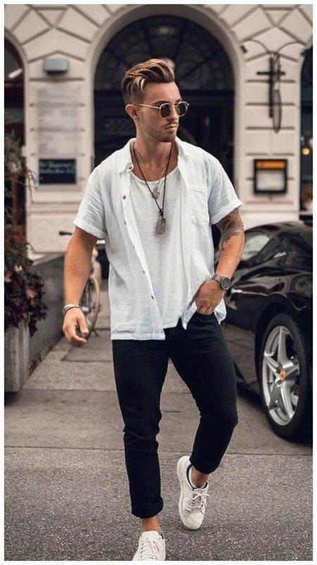 С чем носить белую футболку мужчине летом