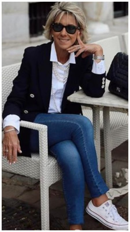 Как носить джинсы с жакетом пример