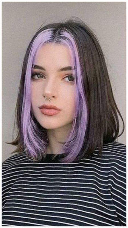 Фиолетовые пряди у лица фото