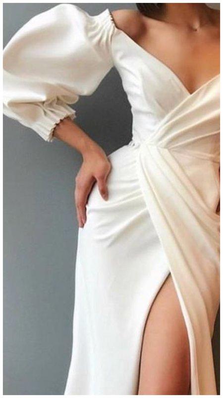 свадебное платье с пышными рукавами