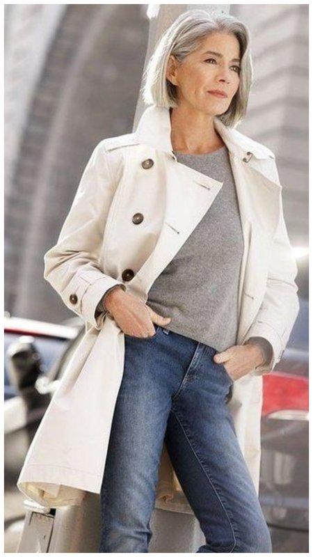 Джинсы с удлиненным пальто