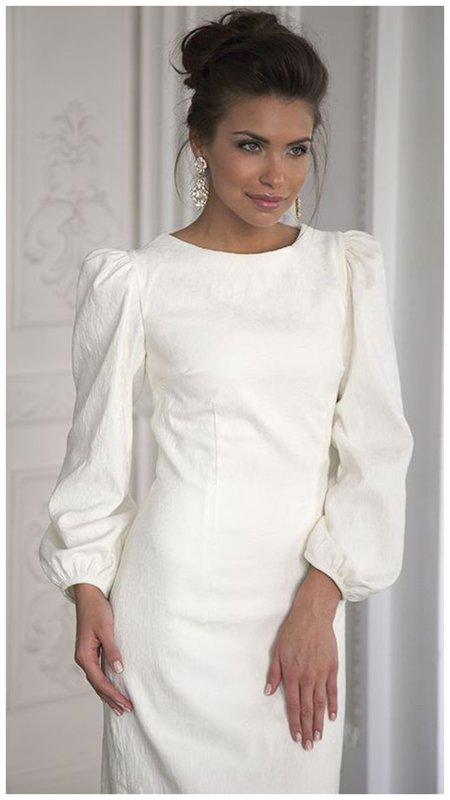 свадебное платье с пышными рукавами фото