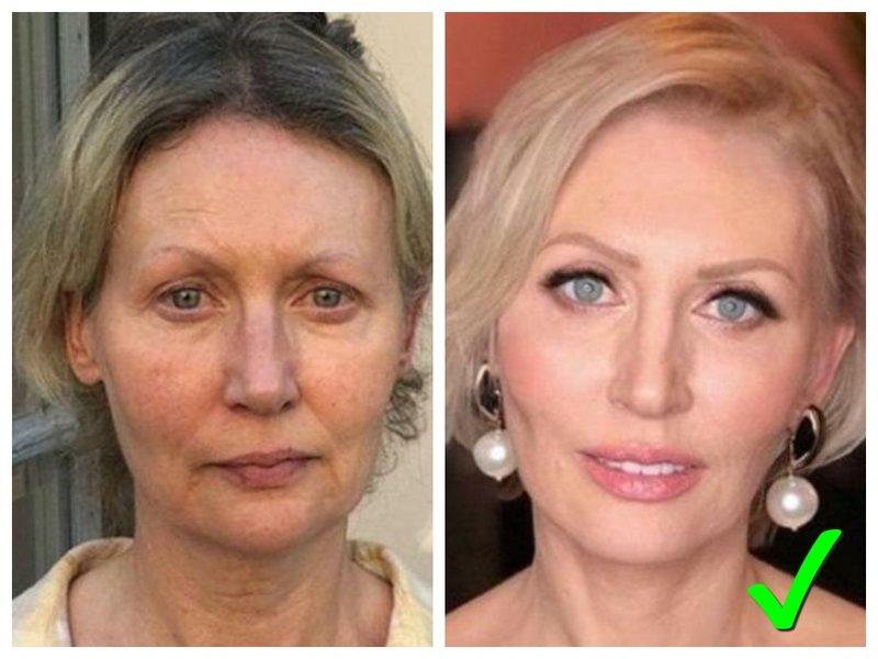 Макияж 50+ до и после фото