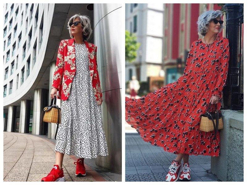 Как носить платье с кроссовками женщине 50+