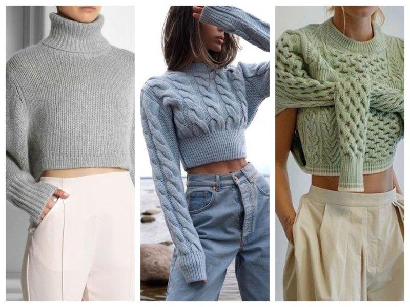 Укороченный свитер фото