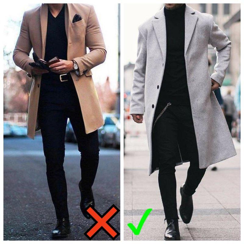 Мужчина в пальто и ботинках