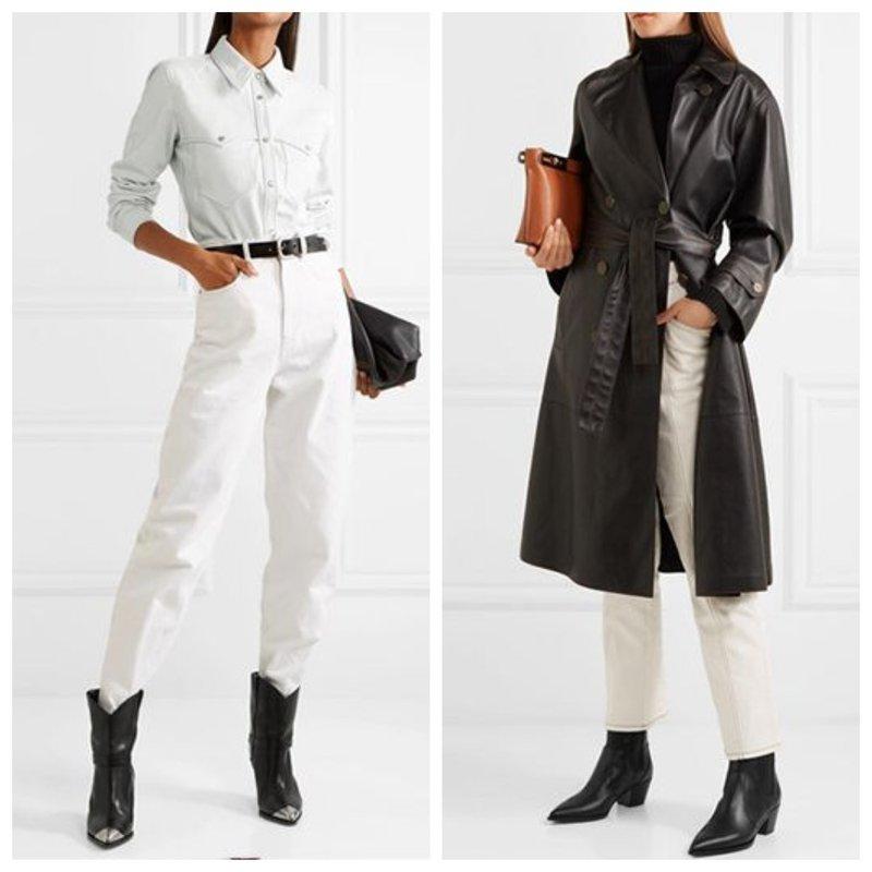 Белые брюки и черные ботинки