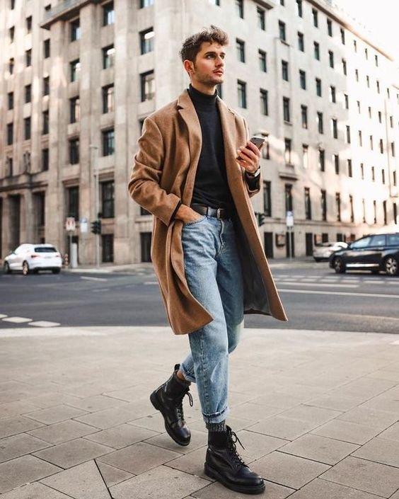 Мужской образ с бежевым пальто