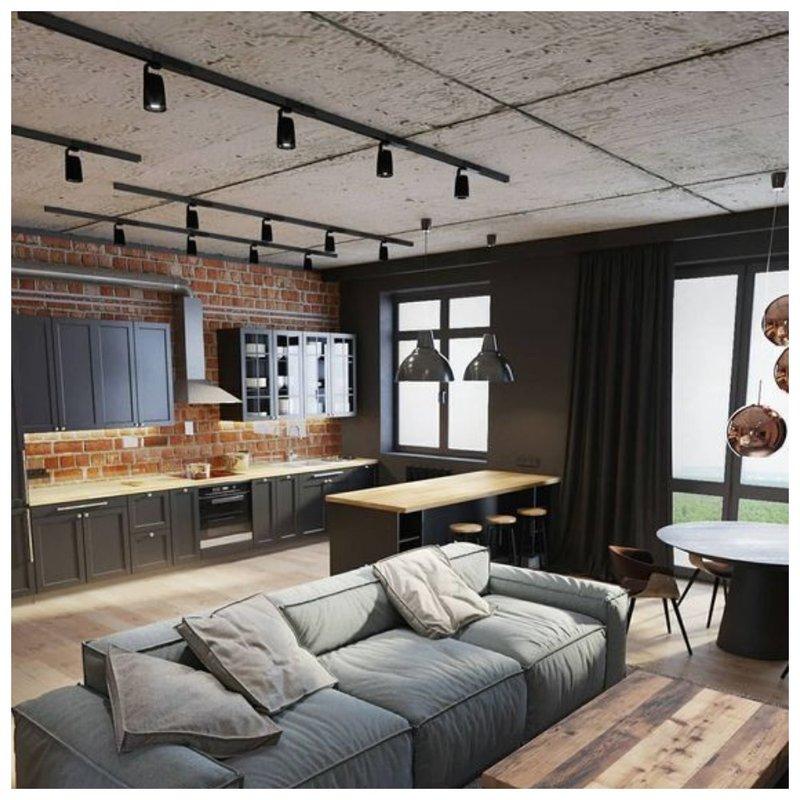 Комната с бетоном на потолке дизайн