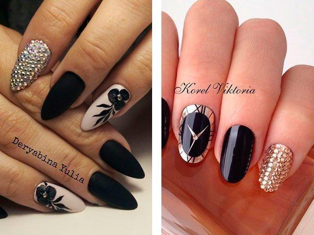 Рисунки стразами на ногтях