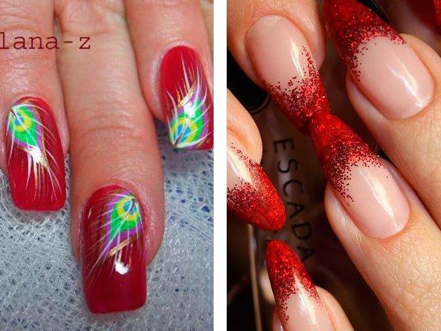 нарощенные ногти фото красные